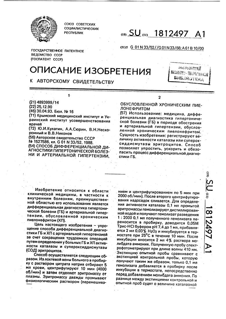Дифференциальная диагностика гипертонической болезни